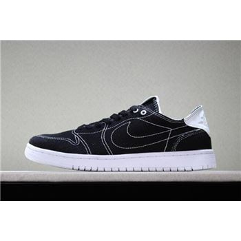 2018 Levi's x Air Jordan 1 Low Black Denim Black/White For Sale