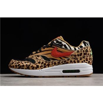 atmos x Nike Air Max 1 DLX Animal Pack 2.0 Wheat/Bison-Classic Green-Sport Red AQ0928-700